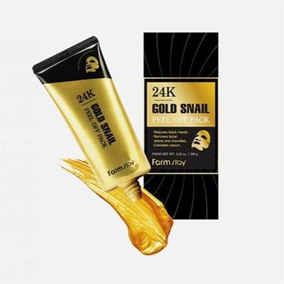 Маска-пленка с золотом и муцином улитки / Farm Stay Golden Snail 24K Gold Snail Peel Off Pack - фото 4643