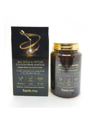 Многофункциональная ампульная сыворотка с золотом и пептидами FarmStay 24K Gold & Peptide Solution Prime Ampoule - фото 4652