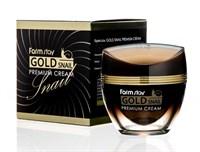 Премиальный крем для лица с золотом и муцином улитки Farm Stay Gold Snail Premium Cream