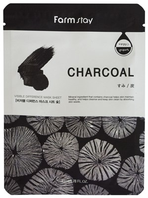 Тканевая маска с углем Farm Stay Visible Difference Mask Sheet Charcoal - фото 4495