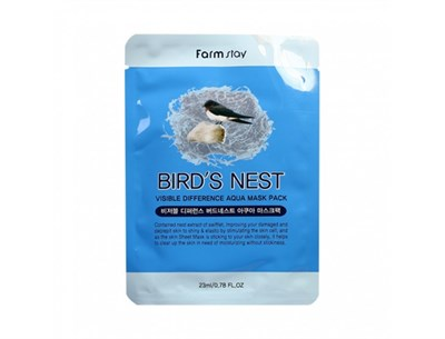 Тканевая маска с экстрактом ласточкиного гнезда / Farm Stay Visible Difference Mask Sheet Birds Nest - фото 4496