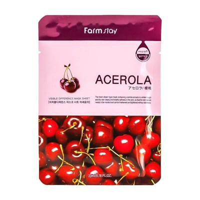 Тканевая маска с экстрактом ацеролы Farm Stay Visible Difference Mask Sheet Acerola