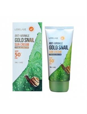 Солнцезащитный крем против морщин Lebelage Anti-Wrinkle Gold Snail Sun Cream SPF50+ PA+++ - фото 5115