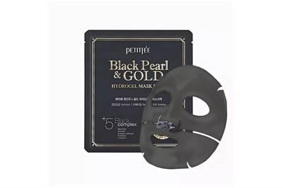 Маска для лица гидрогелевая с черным жемчугом и золотом Petitfee Black Pearl & Gold Hydrogel Mask Pack - фото 5223