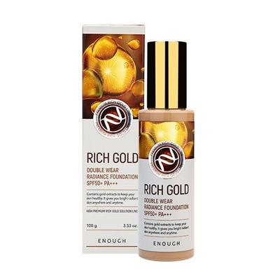 ENOUGH Тональный крем для лица ЗОЛОТО Rich Gold Double Wear Radiance Foundation SPF50+ PA+++ тон 21, 100 мл - фото 5293