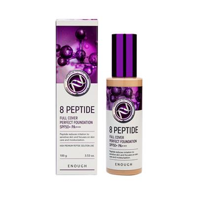 ENOUGH Тональный крем для лица ПЕПТИДЫ 8 Peptide Full Cover Perfect Foundation SPF50+ PA+++ тон 13, 100 мл - фото 5296