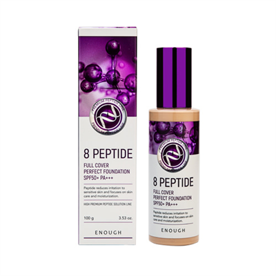 ENOUGH Тональный крем для лица ПЕПТИДЫ 8 Peptide Full Cover Perfect Foundation SPF50+ PA+++ тон 21, 100 мл - фото 5297